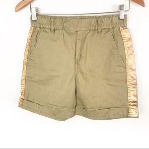 J. CREW   Green Copper-Foil Tuxedo Striped Shorts